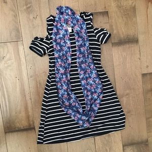 JENNA & JESSIE STRIPED DRESS WITH FLORAL SCARF 8